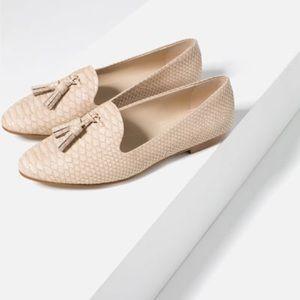 Zara Embossed Slippers - Cream - 40